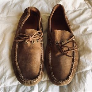 Frye tan suede loafers
